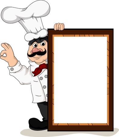 chef cook with blank board Illustration