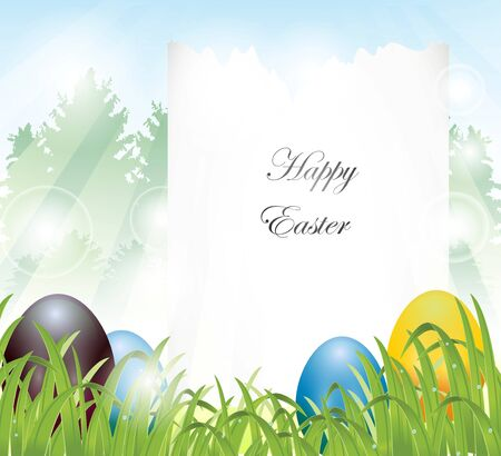 easter eggs with blank sign and pine forest background Stock Vector - 17201236