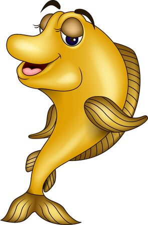 funny yellow fish cartoon Stock Vector - 17201237