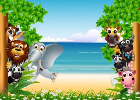 mandrill: animale divertente cartone animato con sfondo spiaggia tropicale