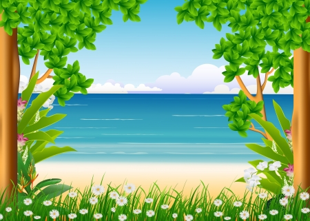 forest and beach background Stock Vector - 17201234