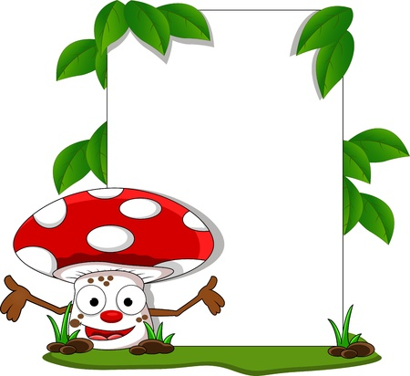 welcome mushroom cartoon with blank sign Vector