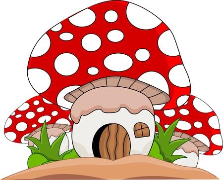 cottage garden: Cartoon mushroom house