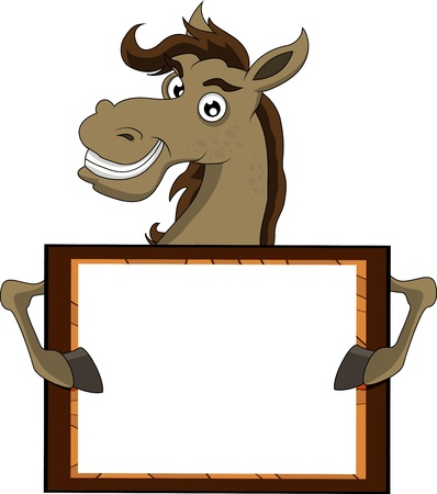 horse with blank sign Stock Illustratie