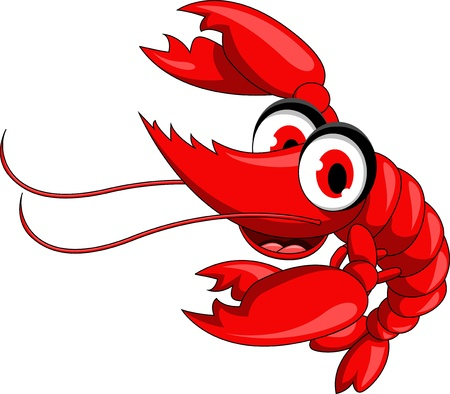 thumbsup: red shrimp cartoon Illustration