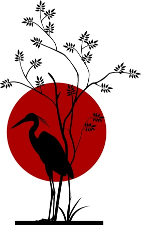 heron silhouette with moon background