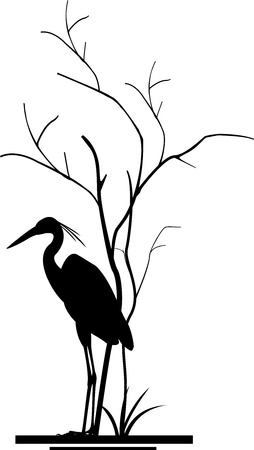 migrating: heron and tree silhouette