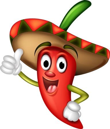 mexican sombrero: cartone animato peperoncino thumbs up