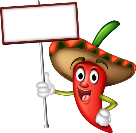 caricatura mexicana: pimienta de chile con la tarjeta en blanco