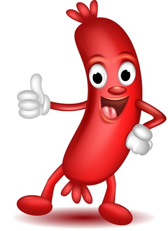 sausage cartoon thumbs up Illustration