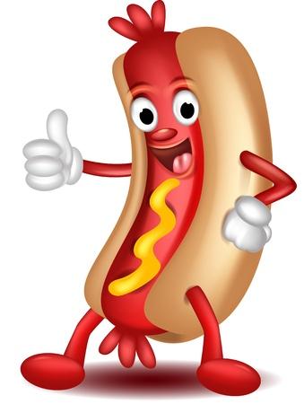 perro caliente: de dibujos animados de perro caliente pulgares para arriba