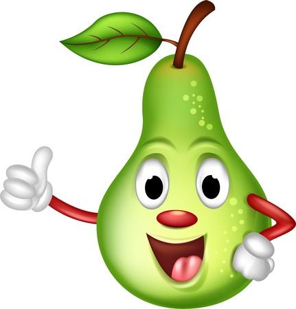 frutas divertidas: feliz, verde, pera thumbs up