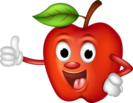 manzana caricatura: divertido manzana roja thumbs up