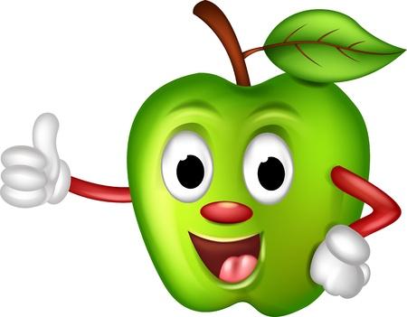 funny green apple thumbs up Stock Illustratie