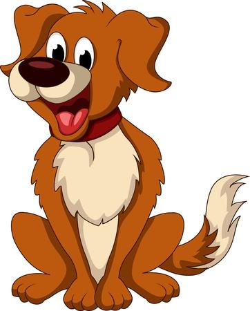 cheerful cartoon: perro de dibujos animados lindo que se sienta Vectores