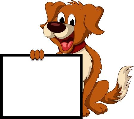 perro caricatura: dibujos animados lindo perro celebración de firmar en blanco Vectores