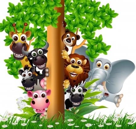 hipopotamo caricatura: funny animal colecci�n de dibujos animados Vectores