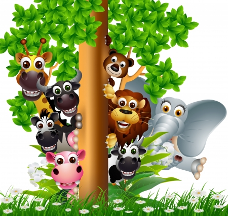 jirafa cartoon: funny animal colección de dibujos animados Vectores