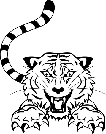 angry tiger tattoo Vector