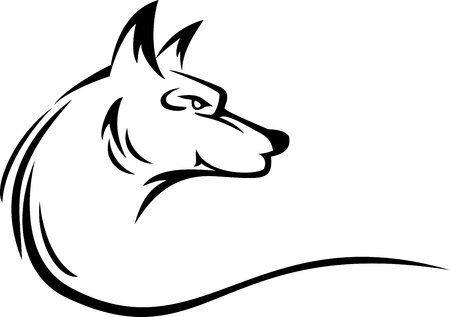 white wolf: wolf head tattoo Illustration