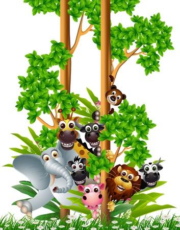 animales de la selva: funny animal colección de dibujos animados Vectores