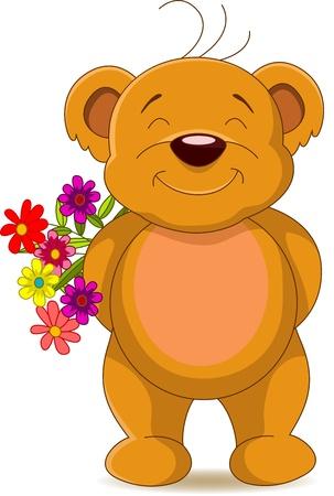 ourson: mignon ours brun avec des fleurs Illustration