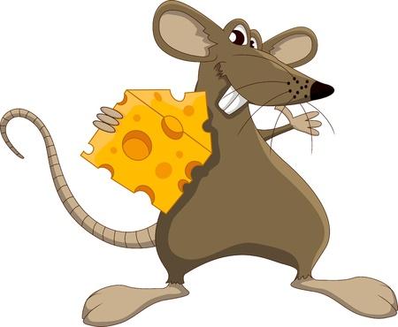 cheese cartoon: Cute cartoon mouse with cheese