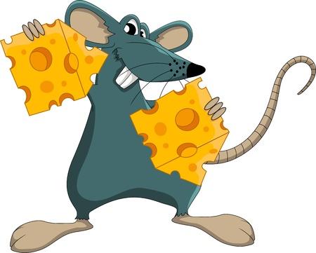 raton caricatura: Ratón lindo de la historieta con queso