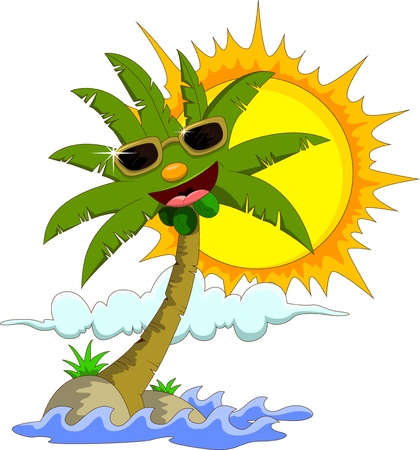 Tropical island with cartoon palm tree and sun  Illustration