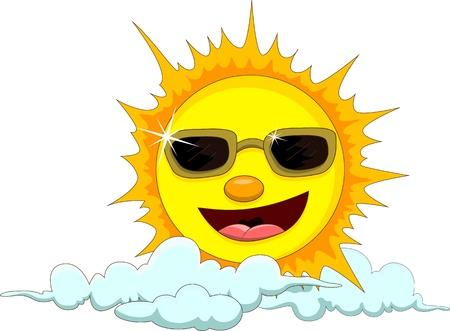 sun cartoon with eyeglasses Stock Vector - 17630334