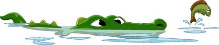 crocodile hunting fish on the water