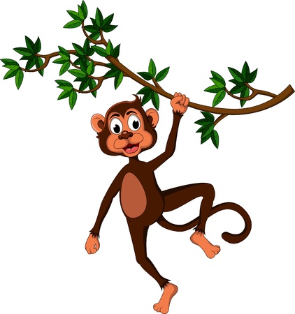 cute monkey cartoon on tree Vector