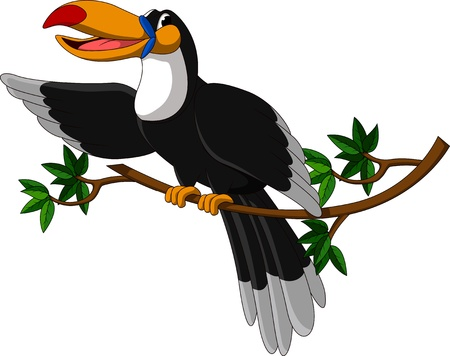 south american: cute toucan sitting on tree