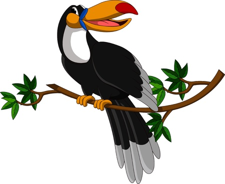 cute toucan sitting on tree Vector