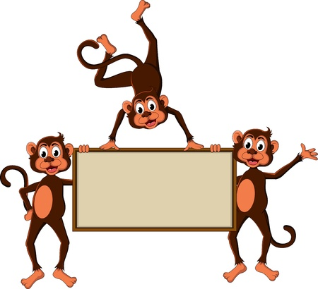 monkey s cartoon with blank board Stock Vector - 17840664
