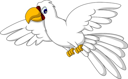 cockatoo: white parrot cartoon flying Illustration