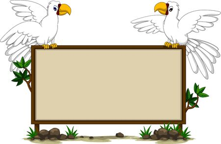 parrots s sitting on blank board Stock Vector - 17840670
