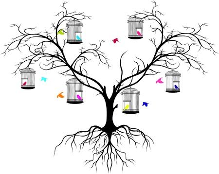 árbol genealógico: silueta de árbol con los pájaros de colores volando y pájaro en una jaula