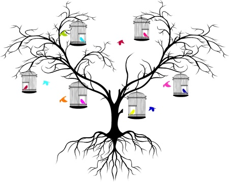 valentine tree: tree silhouette with color birds flying and bird in a cage Illustration