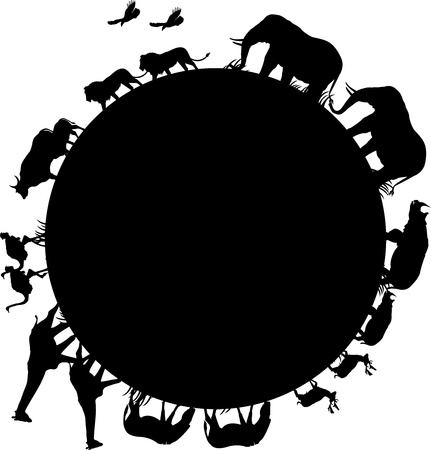 illustration of animal silhouette arround the world