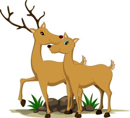 cute couple deer cartoon Stock Vector - 17840699