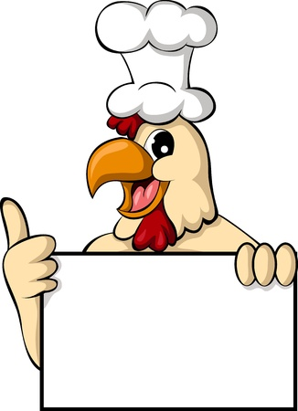 funny cartoon chicken with blank sign Vectores