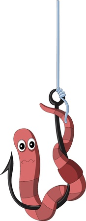 hooks: Cartoon worm on a hook