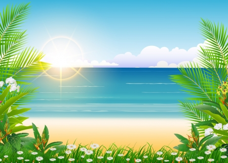 beauty Sunny blue sky and palm tree and beach background