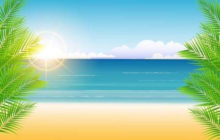 clima tropical: Sunny belleza cielo azul y el árbol de palma y fondo de la playa Vectores