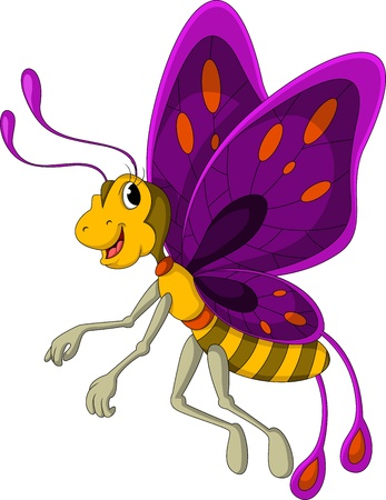 flaying: cute butterfly cartoon Illustration