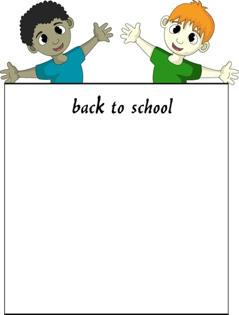 child with back to school sign Stock Vector - 19032897