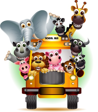 животные: смешные животные на желтом школьном автобусе