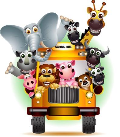 jirafa caricatura: animal divertido en el autobús escolar amarillo