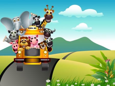 illustration zoo: buffo animale in auto gialla con sfondo paesaggio